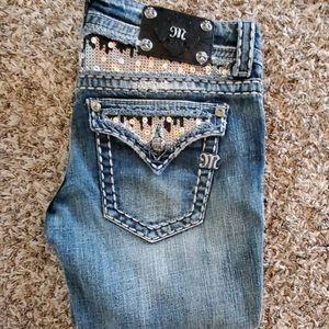 Miss me bling pocket design cropped jeans